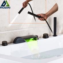 البرونزية الأسود شلال صنبور حوض استحمام مصباح ليد حوض الاستحمام دش خلاط مجموعة سطح الخيالة 5 قطعة على نطاق واسع حمام حوض بالوعة صنبور
