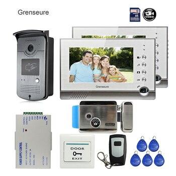 Envío Gratis, nuevo Monitor de puerta de 7 pulgadas, videoportero, sistema de grabadora de teléfono para puerta, 2 monitores, impermeable, cubierta de lluvia, 8G SD + e lock|intercom door|video intercom door|door monitor -
