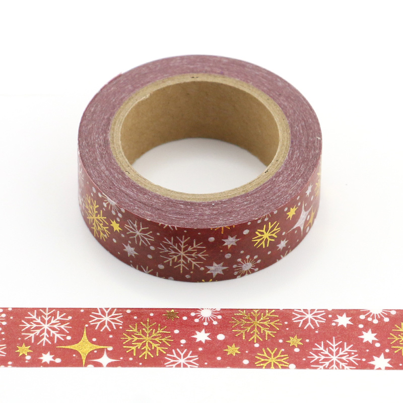 1PCS Silver and Gold Foil Festivals Snowflakes Decorative Masking Washi Tape DIY Diary Scrapbooking