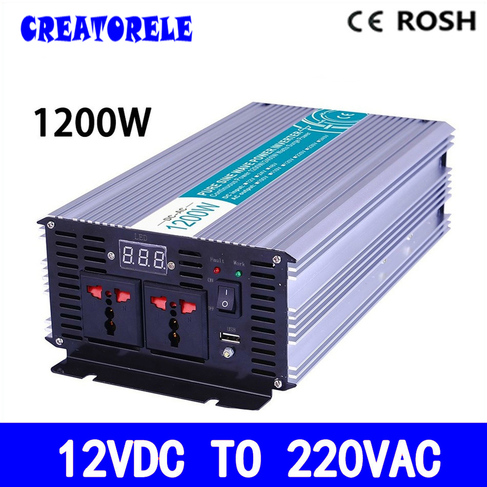 P1200-122 inverter 1200w 12vdc to 220vac inverter Pure Sine Wave voltage converter,solar inverter LED Display meziere wp101b sbc billet elec w p