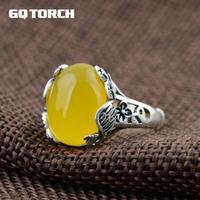 GQTORCH 925 Gümüş Taşlı Yüzük Kadınlar Için Tavuskuşu Oyma Sarı Kalsedon Bağbozumu 990 Tay Gümüş Açılış Tipi