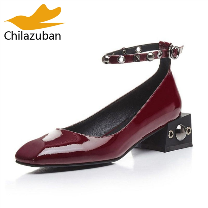 Chilazuban Fashion Women Genuine Leather High Heel Shoes Women Rivet Ankle Strap Thick Heel Pumps Party Women Shoes Size 34-39 kemekiss size 31 45 women sweet high heel shoes women ruffle ankle strap thick heels pumps party daily work shoes women footwear
