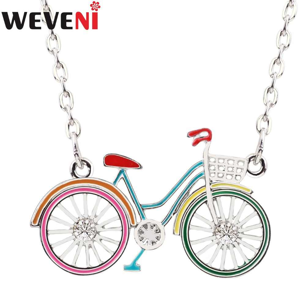 WEVENI Statement Bicycle Bike Shape Choker Necklace Pendant Metal Collar Chain New Fashion Accessories Enamel Jewelry For Women
