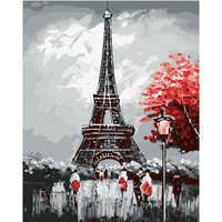 Peinture par numéros bricolage livraison directe 50x65 60x75cm belle tour de paris paysage toile mariage décoration Art image cadeau