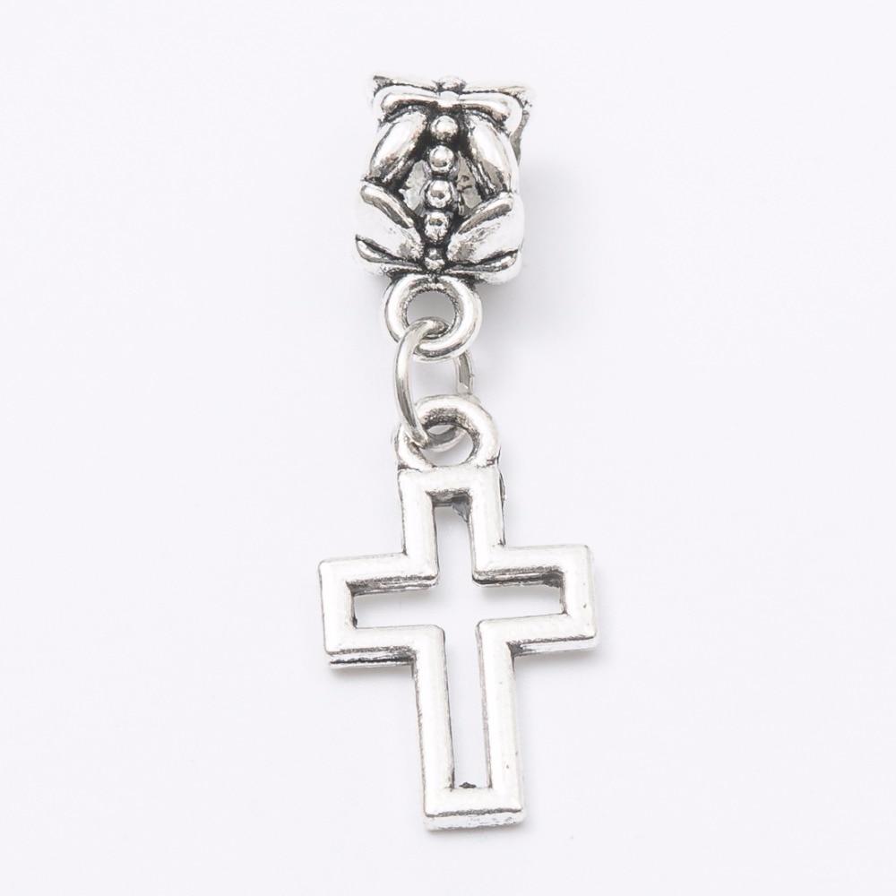30pcs cross silver Bead fit Pandora charm bracelet DIY dangle Charm for pendants jewelry making JS1088