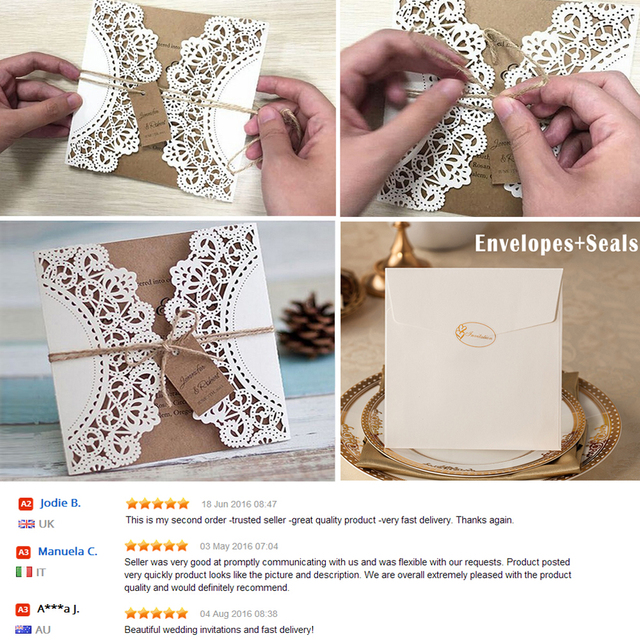 Hochzeitseinladungen Vintage Einladung Probe Kraft Paper