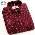 Langmeng 2016 slim fit manga comprida polka dot primavera outono camisas casuais de algodão de alta qualidade dos homens camisas de vestido Camisa Masculina