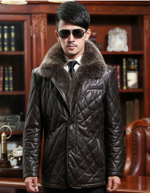 EMS Free Shipping New Arrival Men's Genuine Sheepskin Leather Jackets thicken Coat With Huge Fox Fur Collar
