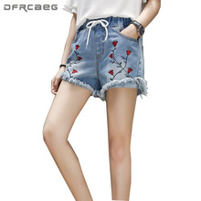 4XL 5XL Femmes de Taille Plus Denim Shorts 2018 D été De Mode Taille Haute  Broderie Jeans Shorts Feminino Casual Vintage Lâche . a859ec40068
