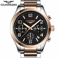 GUANQIN Brand New Top Luxury Watch Men's Watches Full Stainless Steel Band Quartz Life Waterproof Fashion Casual Wristwatch