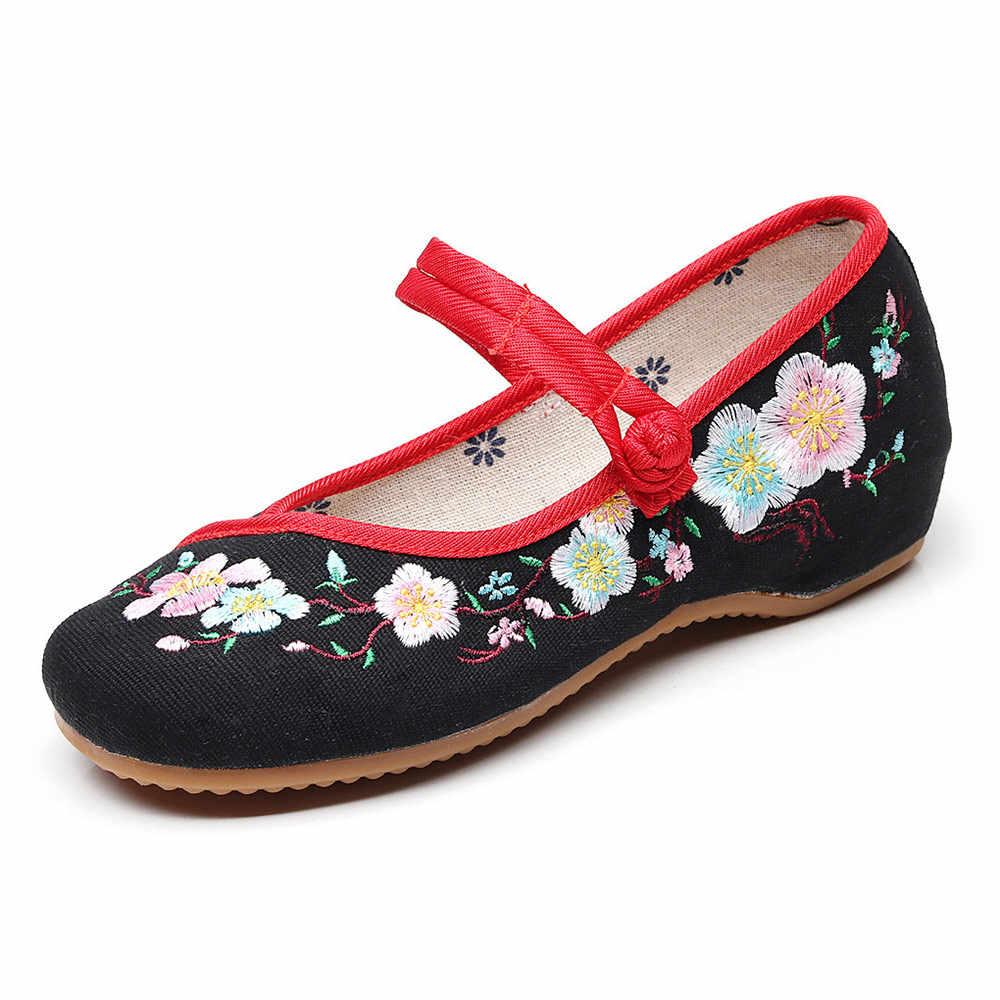 Veowalk Cúc Thêu Nữ Vải Bố Mary Jane Đế Giày Nữ Cotton Thoải Mái Làm Việc Ballerinas Cho Giáo Viên