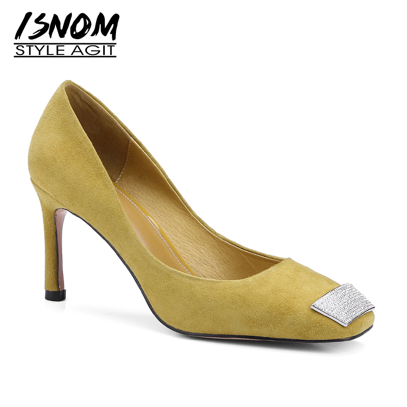 ISNOM Thin High Heels Women Pumps Pointed Toe Crystal Slip On Footwear Kid Suede Shoes Party