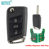 OkeyTech 3 Button 433Mhz With Megamos AES Chip Remote Control Flip Folding Case Fob For Volkswagen V w Uncut Blade Car Key