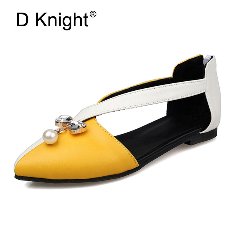 Women's Flats Sandals 2017 New Spring Summer Ladies Casual Shoes Crystal Pearls Cut-ous Flat Loafers Shoes Woman Plus Size 33-43 plus size 34 43 new platform flat shoes woman spring summer sweet casual women flats bowtie ladies party wedding shoes