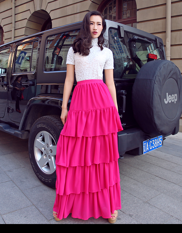 fc73fa7b8bc9d Summer elegant Ladies chiffon cake skirt maxi Long Layer upon layer ruffles  skirts Customize plus size 5XL 7XL 120 colors-in Skirts from Women s  Clothing on ...