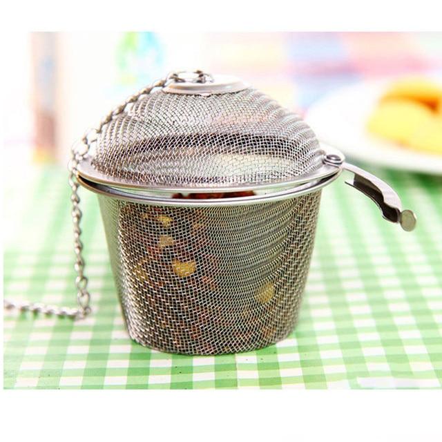 1 pc Tái Sử Dụng Trà & Cà Phê Lọc Lọc Bằng Thép Không Gỉ Bóng Tea Spice Lọc Lưới Lọc Lọc với Nắp Chuỗi Multifuntion