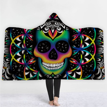 Skull Hooded Blanket For Adults Wearable Warm Home Travel Picnic 3D Printed Soft Fleece Throw Winter