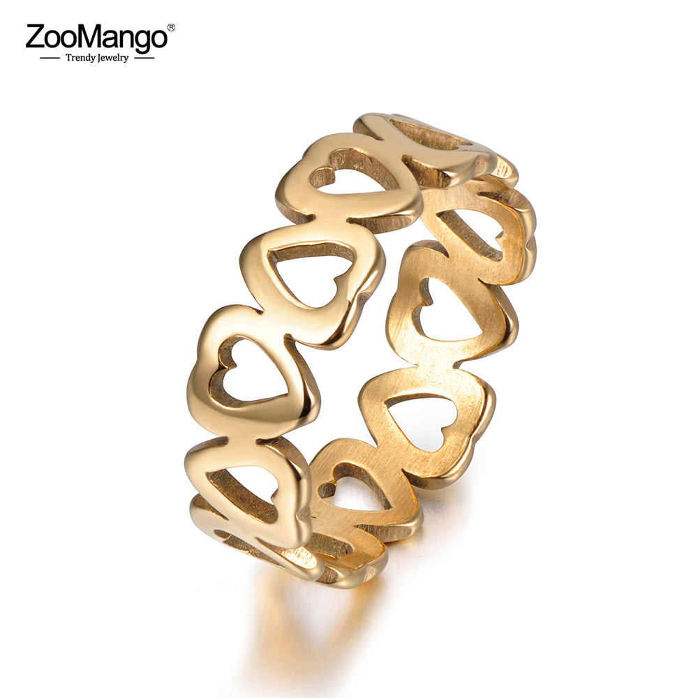 ZooMango Stainless Steel Fashion Hollow Heart Lover Ring Classic Gold/Silver Engagement Wedding Rings For Women Anneau ZR17154
