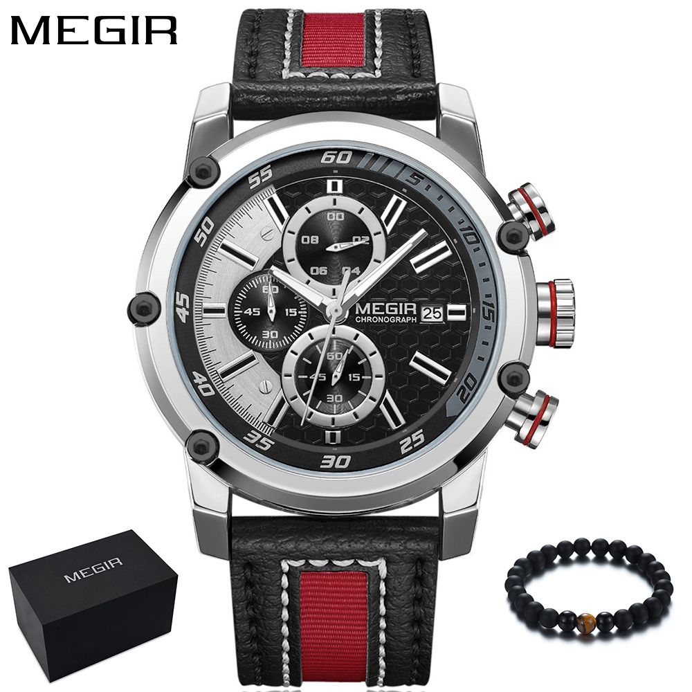 MEGIR Mens Watches Top Brand Luxury Sport Watch Men Quartz Waterproof Wristwatch Leather Band Clock Men horloges mannen 2018 New megir fashion watch leather band men quartz watches brand waterproof clock luxury sport man wristwatch army style montre homme