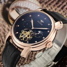 Marca ailang hombres tourbillon automático relojes auto viento reloj de vestir de negocios de cuero real frase luna relojes 3atm nw3302