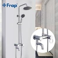 FRAP Shower Faucets bathroom shower faucet brass faucet with rain shower high quality chrome panel set bath shower mixer set