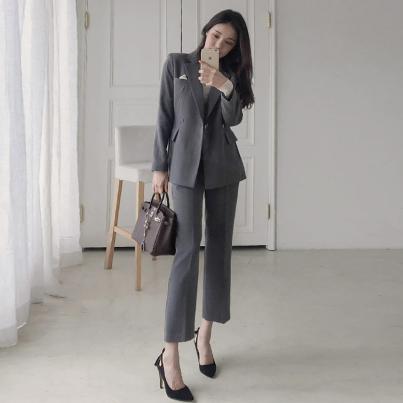 BGTEEVER Fashion Work Pant Suits for Women Office Business Suits 2 Pieces Set Notched Blazer & Straight Pants OL Uniform 2018