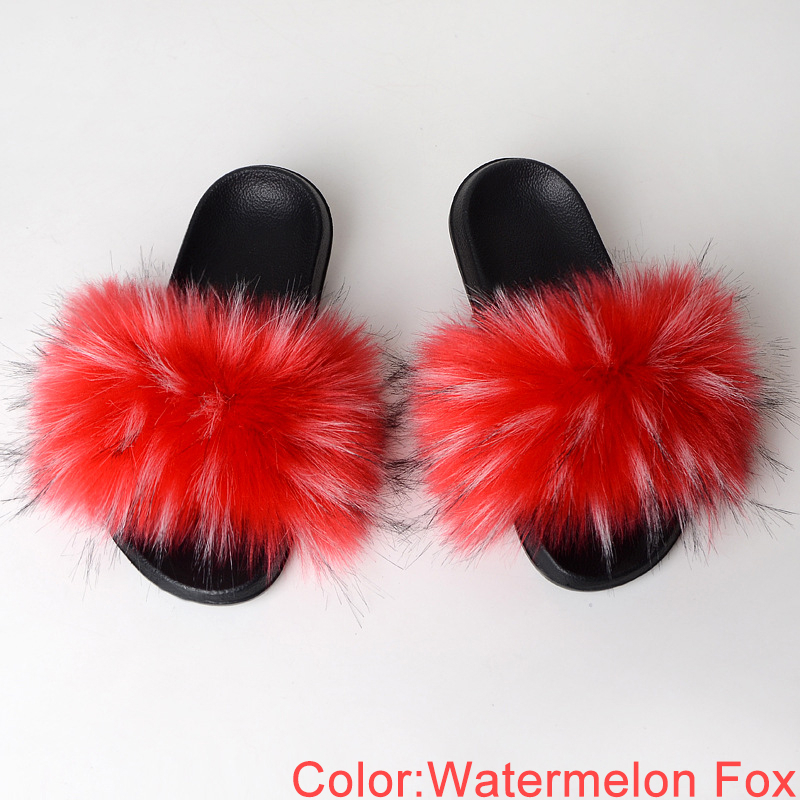 Faux Fur Slides Women Summer Slippers Home Shoes Woman Faux Fur Sandals Female Fashion 2019 Size 36 37 38 39 40 41 42 43 44 45 1