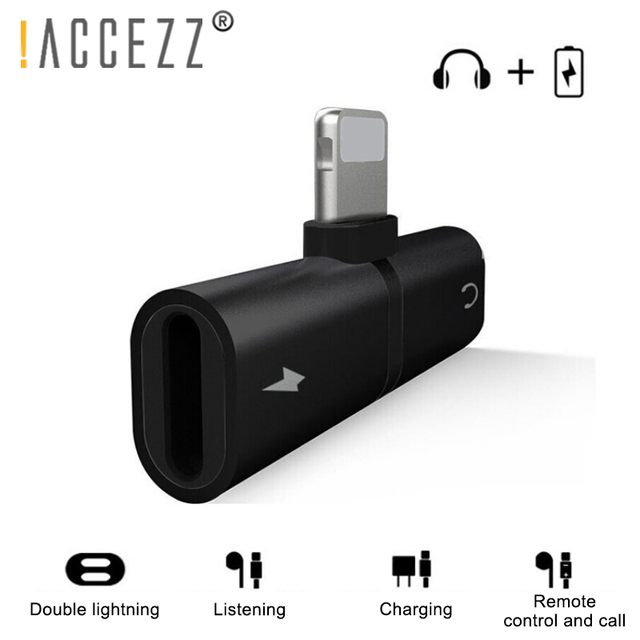 !ACCEZZ 3 in 1 Dual Lighting Charging Listening Calling Adapter For Iphone X XS MAX XR 7 8 Plus Earphone Audio Charger Splitter 1