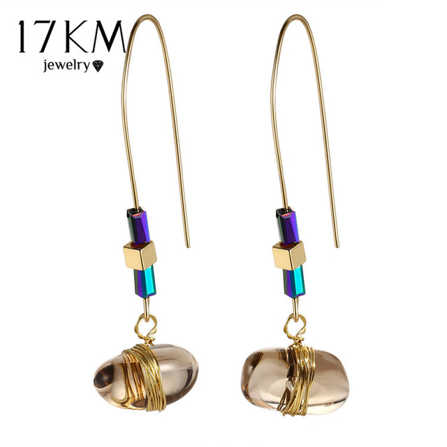 17KM Bohemian Big Stone Drop Earring For Women Vintage Statement Long Earrings P