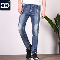 2017 New Mid Weight Male Cotton Jeans Deep Blue Jeans Men Ripped Jeans Men Long Pants
