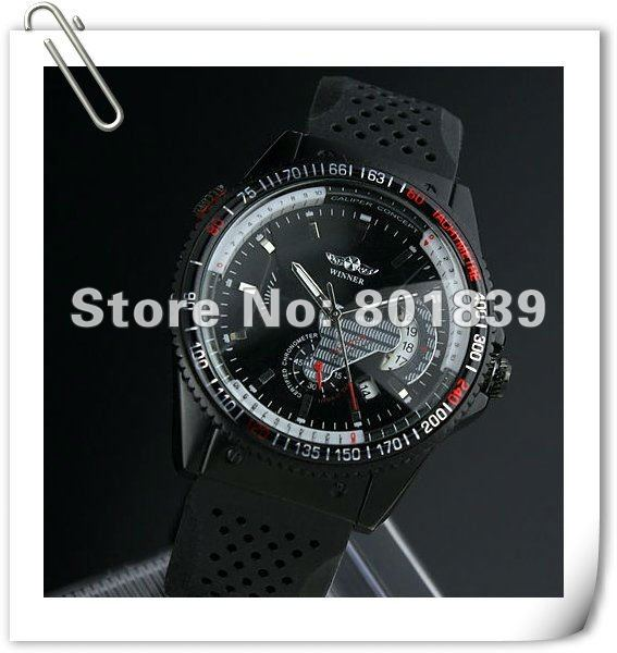 Silicone Automatic / Wind up  Black Dial Sport Analog Wrist Date Rubber Band Mechanical Mens Wrist Watch Wholesale Price A376 t winner automatic watch mens trendy mechanical auto windding silicone band wristwatches modern elegant analog hollow clock gift