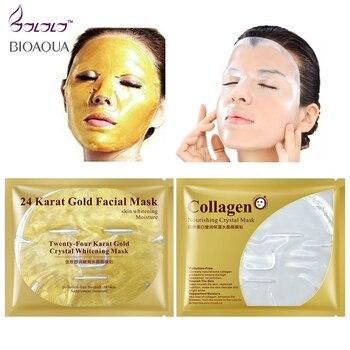 24k gold facial mask / collagen essence face mask crystal masks repair dry skin whitening hyaluronic acid moisture its skin care shoulder bag