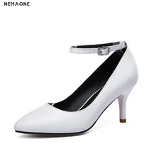 NEMAONE Leather Pumps Shoes Women high Heel Shoes Summer Autumn Slip On Pointed Toe Metal Stiletto thin Heels Casual Pumps