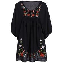 Autumn Fashion Brand Floral Embroidered Dress Women Round Neck Short Sleeve Vintage Black Dress Vestidos 2016