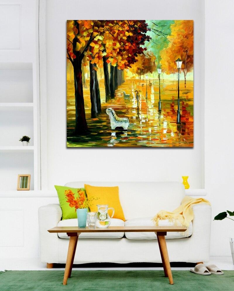 pintado a mano paleta de colores imagen falling oro leaves impresin de la lona