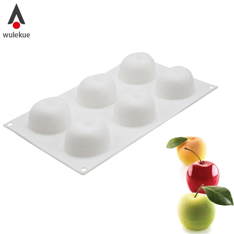 Wulekue Silikon 6 Hohlraum Apple Form Kuchen Backform Für Mousse Gebäck Dekorieren Werkzeuge