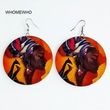 Silver Metal Natural Wood Africa Map Black Beauty Queens Colorful Painting Earrings Bohemia African Wooden DIY Jewelry Accessory