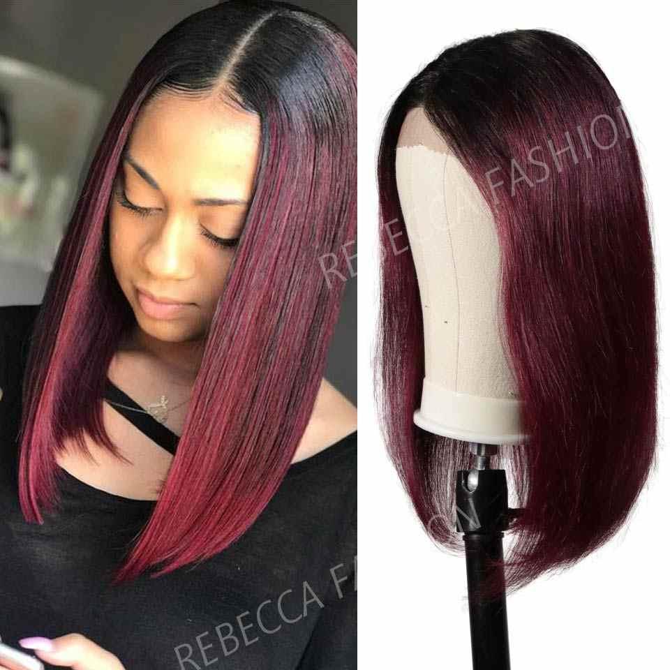 Rebecca кружевные передние человеческие волосы парики для черных женщин перуанские Remy прямые боб парик с Омбре человеческих волос парик Бесплатная доставка