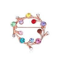 Wierzba Drzewo wielokolorowe Koło Broszka Pins Wykonane Z Czeskich Kryształowe Ślubne Prezenty Lady Dziewczyna Kobiet Tanie Costume Jewelry 4 Kolor