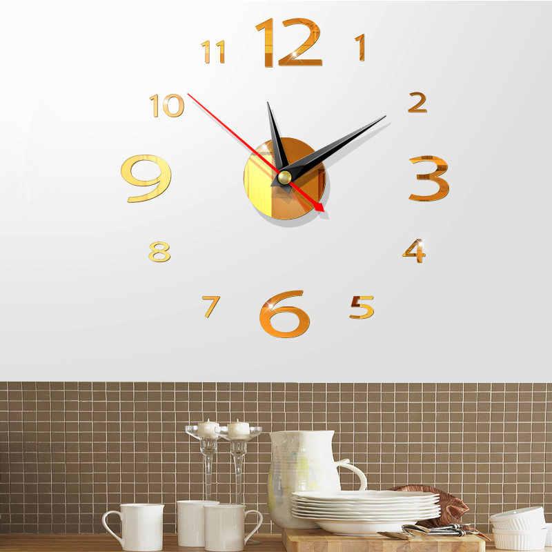 1 مجموعة ساعة جديدة ساعة الحائط ساعات ثلاثية الأبعاد Acrylic بها بنفسك الاكريليك ملصقات للمرايا ديكور المنزل غرفة المعيشة الكوارتز إبرة