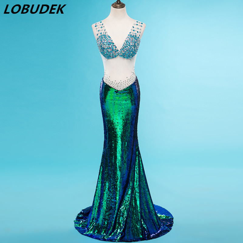 Sexy maille col en v longue robe brillant strass vert paillettes queue de poisson robe Star partie chanteur Vocal Concert spectacle traînant robe