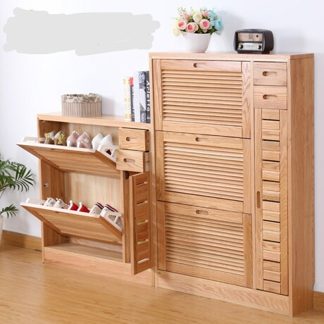 Shoe Cabinets Rack Living Room Furniture Home Assembly Oak Solid Wood Shoes Minimalist Modern Multi Size New