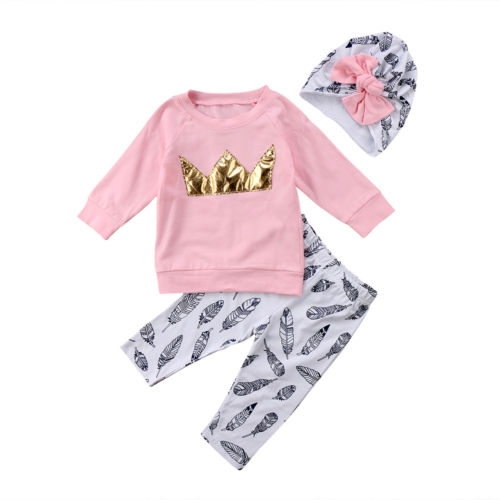 Casual Newborn Toddler Baby Girls Crown Long Sleeve Tops T-shirt Pants Hat Clothes Set Outfits image