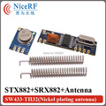 433MHz ASK RF модуль (RF передатчик STX882+ RF приемник SRX882) + 2 пружинные антенны с никелевым покрытием, бесплатная доставка