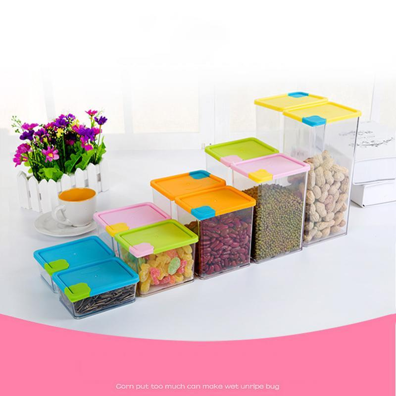 6Pcs lot Kitchen Plastic Food Storage Box Sealed Crisper Grains Tank Storage Sorting Food Moistureproof Storage