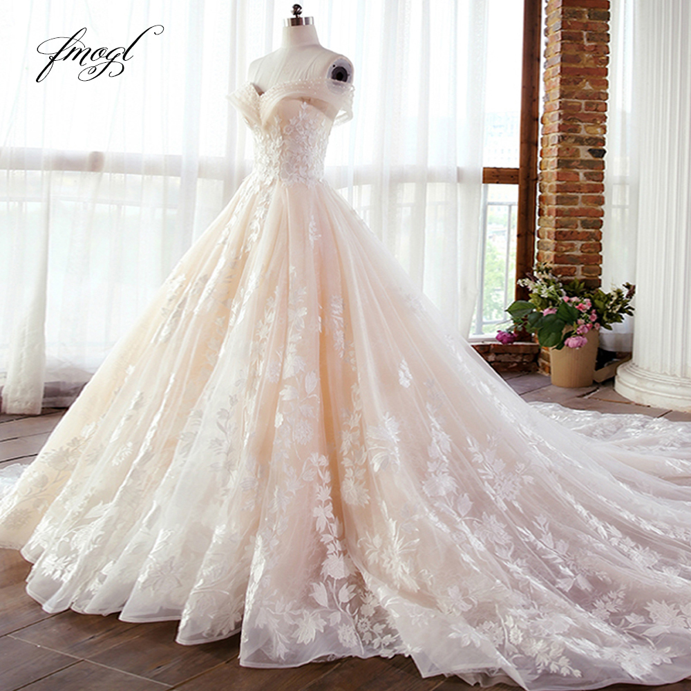 Fmogl Vestido De Noiva Lace Ball Gown Wedding Dress 2019 Sexy Illusion Boat Neck Appliques Beaded Court Train Bridal Gown