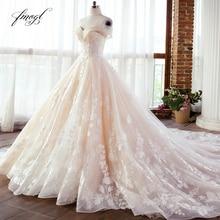 Fmogl Vestido דה Noiva תחרת כדור שמלת חתונת שמלת 2021 סקסי אשליה סירת צוואר אפליקציות חרוזים משפט רכבת כלה שמלה