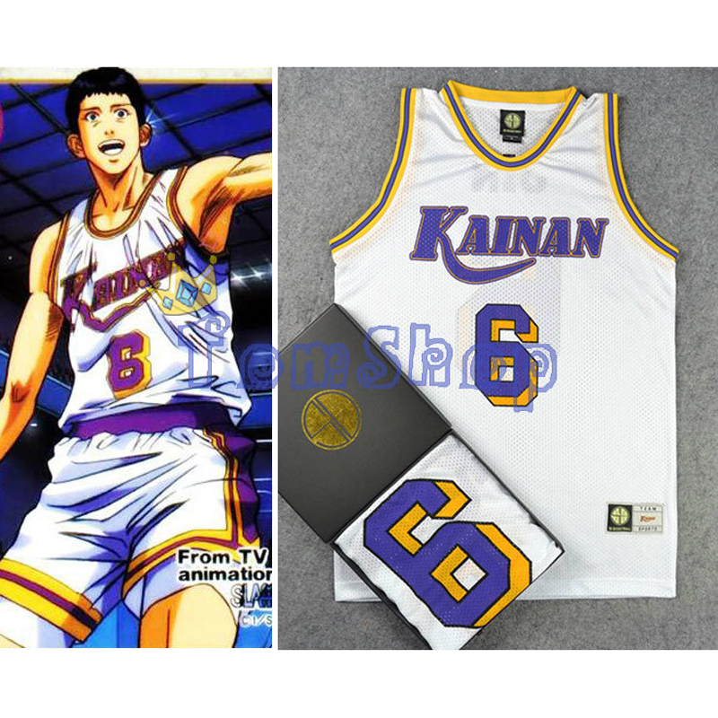 SLAM DUNK Cosplay Kainan School SG No. 6 SOICHIRO JIN Basketball Jersey Tops Shirt Sports Wear Uniform White Free Shipping