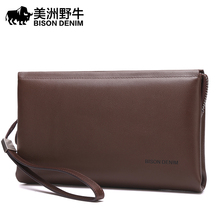 BISON DENIM Brand Handbag Men Genuine Leather Business Clutch Bag Cowhide Large Capacity Purse Brand Men's Bag Wallet