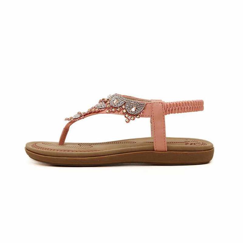 TIMETANG フラットサンダル T-ストラップファッショントレンドサンダルボヘミア国家フラットヒールビーズ女性の靴販売の女性の靴